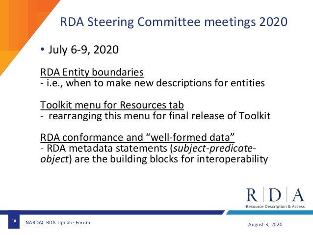 RDA Steering Committee meetings 2020 14 August 3, 2020NARDAC RDA Update Forum • July 6-9, 2020 RDA Entity boundaries - i.e...