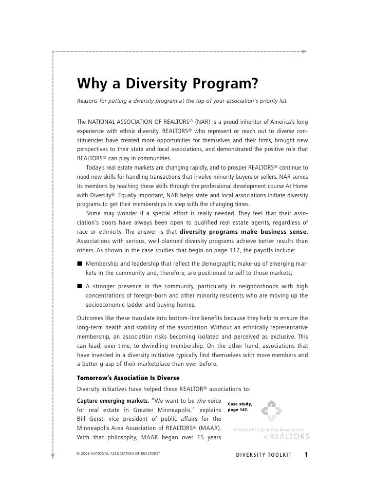 Why a Diversity Program? Reasons for putting a diversity program at the top of your association's priority list.   the NAt...