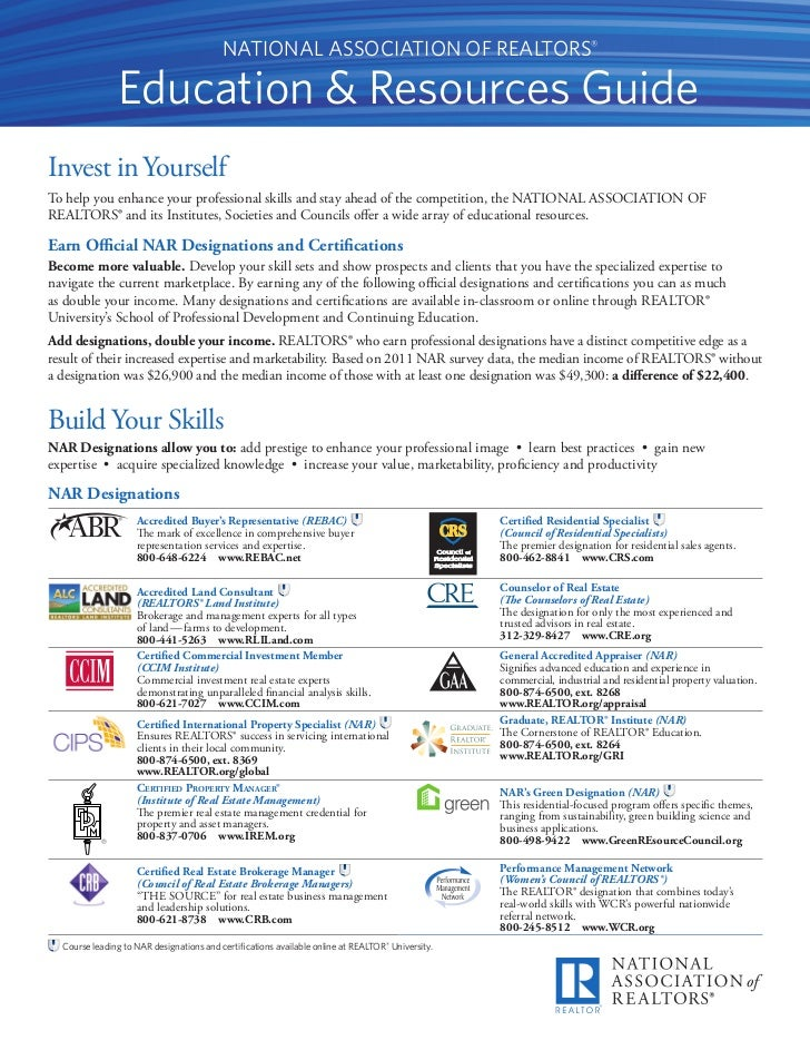 NATIONAL ASSOCIATION OF REALTORS®               Education & Resources GuideInvest in YourselfTo help you enhance your prof...