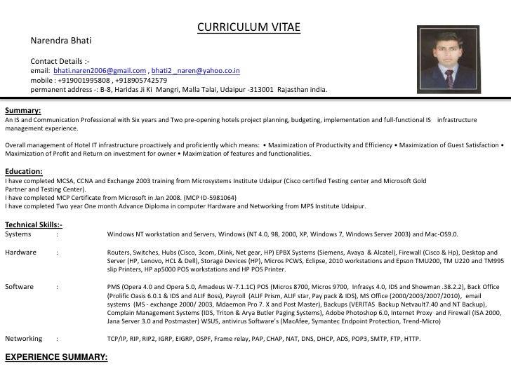 curriculum vitaenarendrabhaticontact details - Cctv Operator Sample Resume