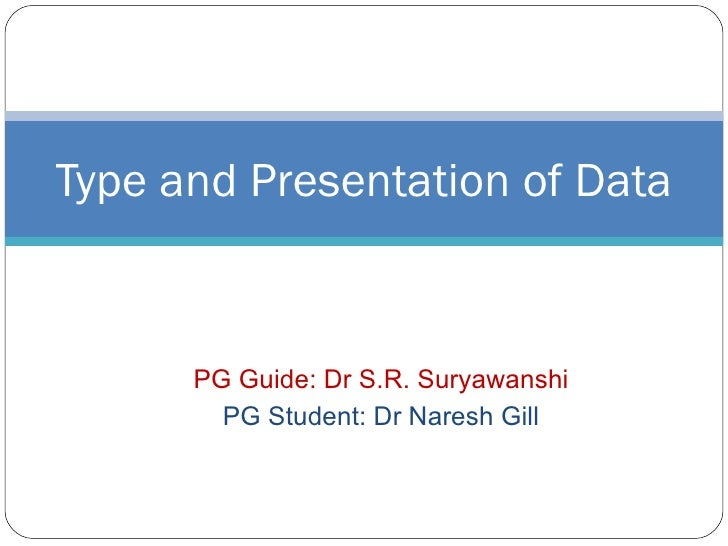 PG Guide: Dr S.R. Suryawanshi PG Student: Dr Naresh Gill Type and Presentation of Data