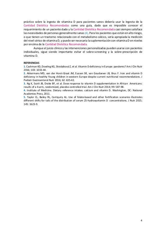4 práctico sobre la ingesta de vitamina D para pacientes sanos debería usar la ingesta de la Cantidad Dietética Recomendad...
