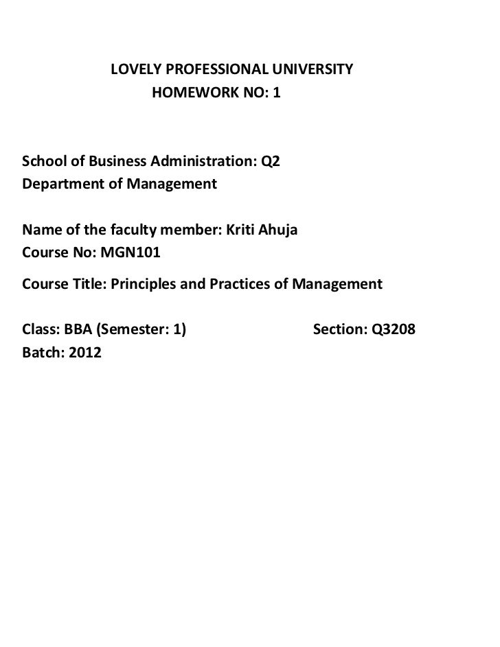 LOVELY PROFESSIONAL UNIVERSITY                 HOMEWORK NO: 1School of Business Administration: Q2Department of Management...