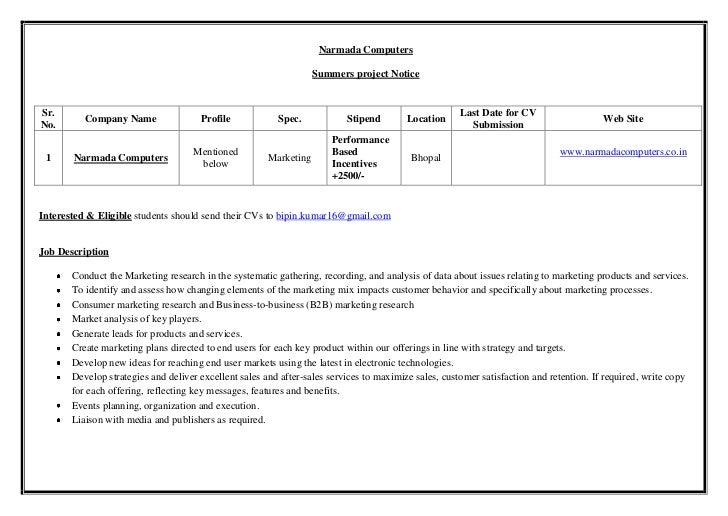 Narmada Computers                                                                   Summers project NoticeSr.             ...