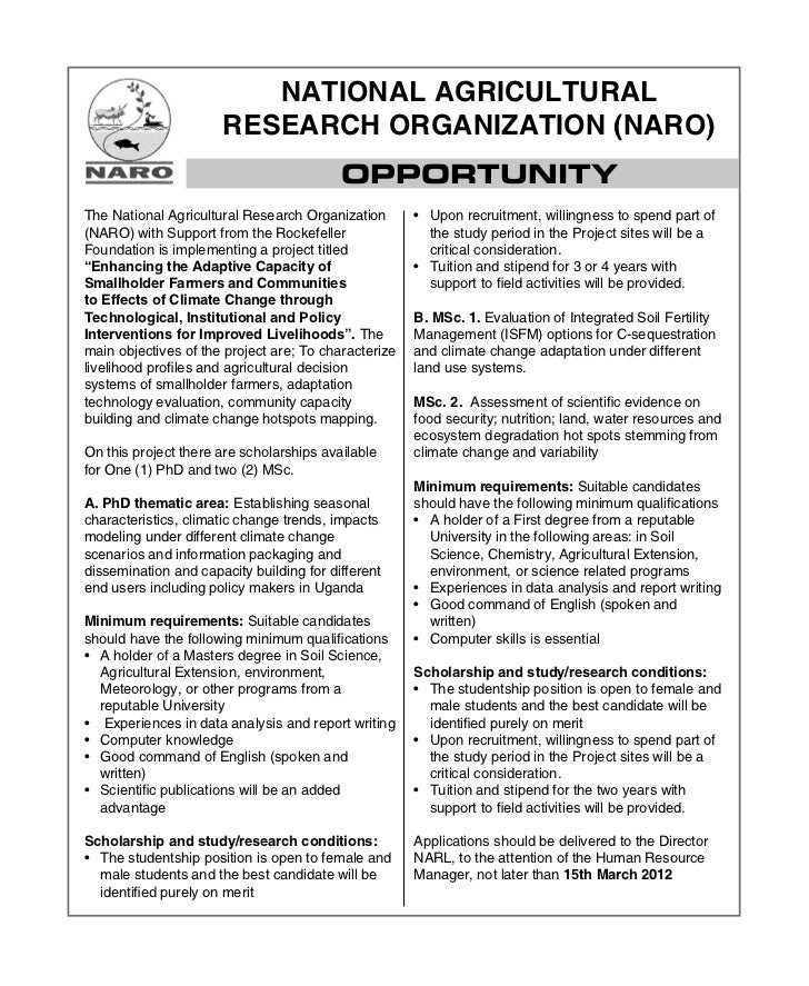 NATIONAL AGRICULTURAL                      RESEARCH ORGANIZATION (NARO)                                          OPPORTUNI...