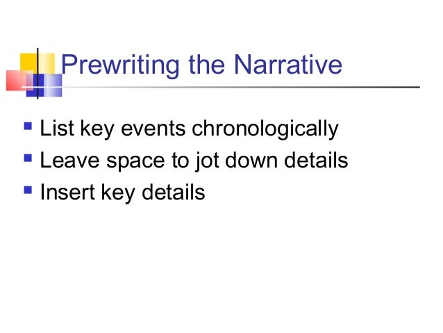 Prewriting the Narrative List key events chronologically Leave space to jot down details Insert key details