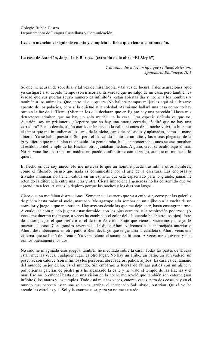 Colegio Rubén Castro Departamento de Lengua Castellana y Comunicación.  Lee con atención el siguiente cuento y completa la...