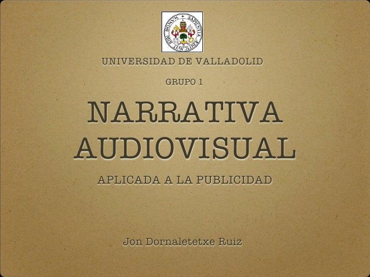 UNIVERSIDAD DE VALLADOLID             GRUPO 1     NARRATIVA AUDIOVISUAL  APLICADA A LA PUBLICIDAD         Jon Dornaletetxe...