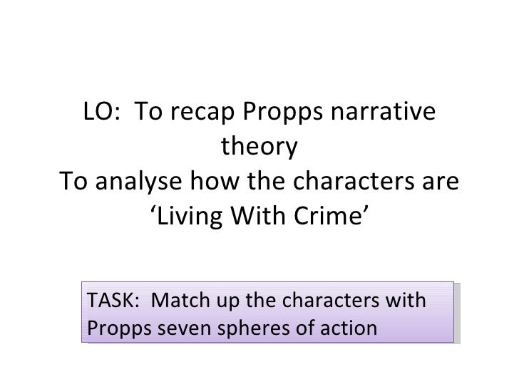 LO:  To recap Propps narrative theory To analyse how the characters are 'Living With Crime' TASK:  Match up the characters...