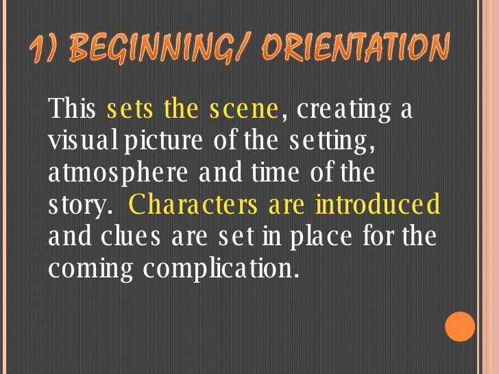 This  sets the scene , creating a visual picture of the setting, atmosphere and time of the story. Characters are introdu...
