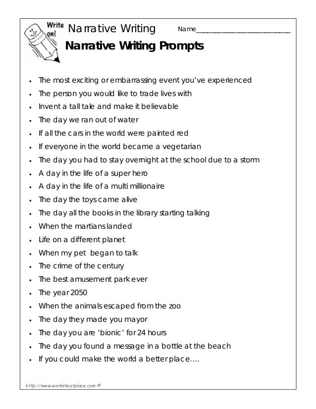 narrative writing ideas for kids Here you'll find a helpful list of 50 narrative essay topics that students can use to develop their topics click here for the full list of topics.