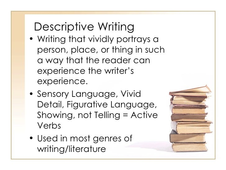 examples of descriptive writing A descriptive essay is a form of academic writing that is built around a detailed description of a person, building, place, situation, notion, etc the main purpose of a descriptive essay is to describe your point of focus in a vivid and particular manne.