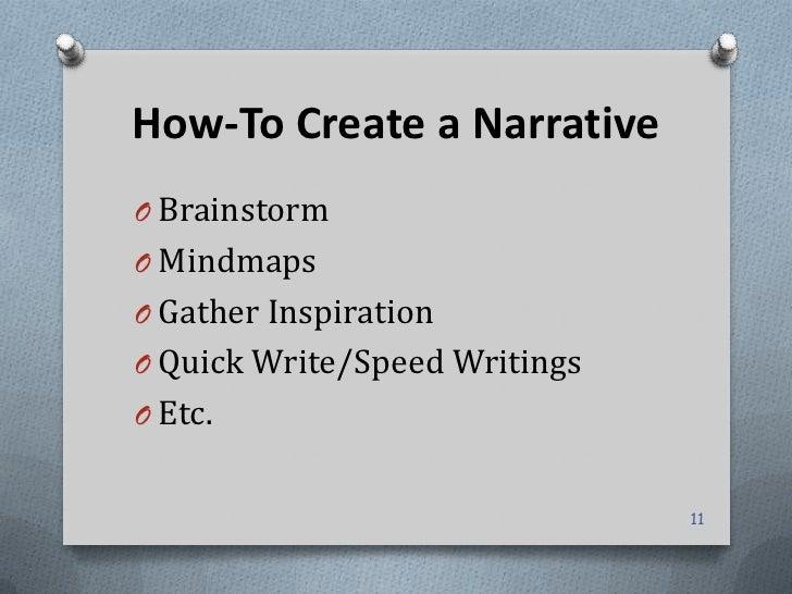 How-To Create a NarrativeO BrainstormO MindmapsO Gather InspirationO Quick Write/Speed WritingsO Etc.                     ...