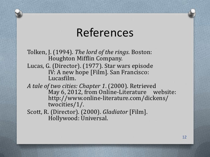 ReferencesTolken, J. (1994). The lord of the rings. Boston:         Houghton Mifflin Company.Lucas, G. (Director). (1977)....