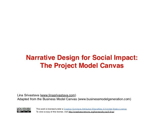 Narrative Design for Social Impact: The Project Model Canvas  Lina Srivastava (www.linasrivastava.com) Adapted from the Bu...