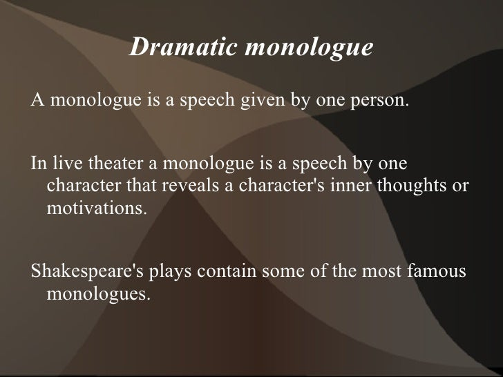 Narrative And Dramatic Poetry Monologue The Open Unit OpenEducationws 2
