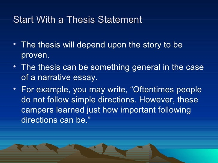 narrative essay directions Essays come in many forms in this lesson, you'll learn all about a narrative essay, from its basic definition to the key characteristics that make.