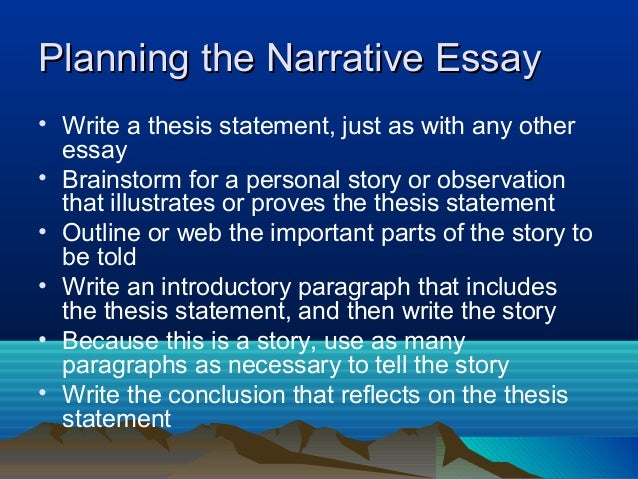 Narrative Essay Writing  Specifically Assigned  Planning The Narrative Essay