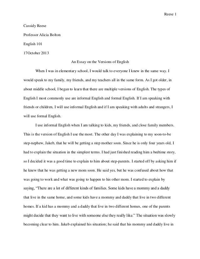 Narrative Essay Reese  Cassidy Reese Professor Alicia Bolton English  October  An  Essay On The Versions