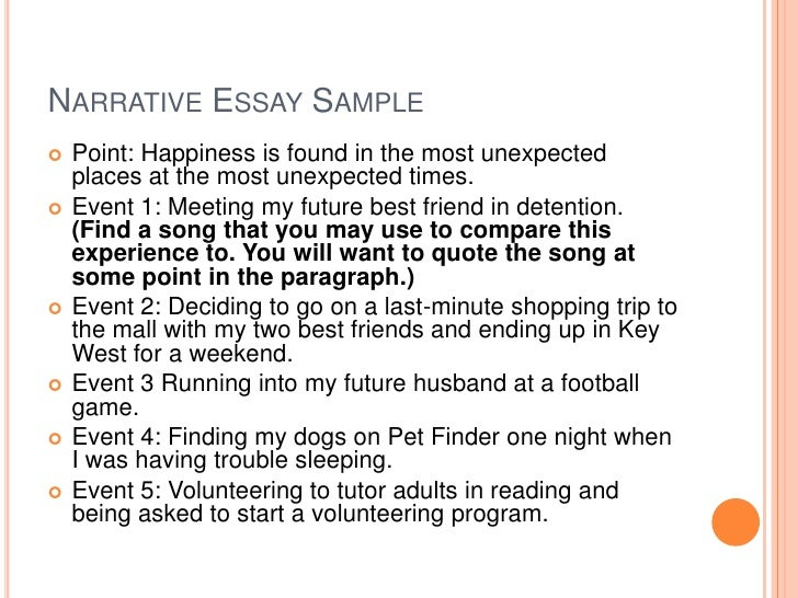 narrative essay sample - Narrative Example Essay
