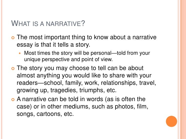 narrative writing ppt Narrative writing: an autobiographical incident by j thompson what is narrative writing it tells a story it has the elements of a short story: -character - plot -setting - theme what is narrative writing (continued) it has a beginning, middle, and end it tells the order in which events take place it is told from a particular.