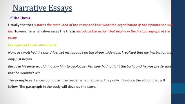 How To Write A Thesis Essay Narrative Essays The Thesis  Examples Of Persuasive Essays For High School also Research Essay Proposal Narrative Essays English As A Global Language Essay