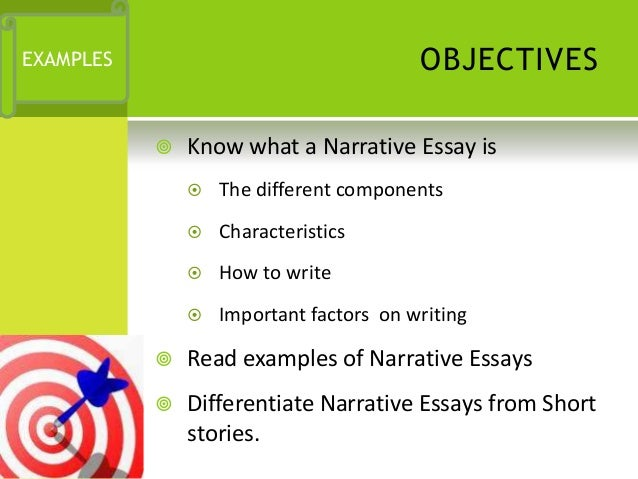 narrative essay components The essay highlights how these components are necessary, at the beginning,  towards individual's perceiving a narrative to be realistic, believable, and worthy  of.