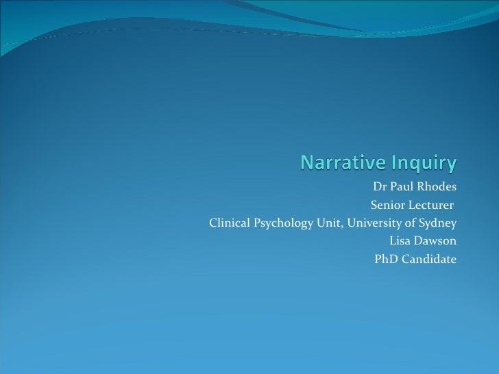 Dr Paul Rhodes                              Senior LecturerClinical Psychology Unit, University of Sydney                 ...