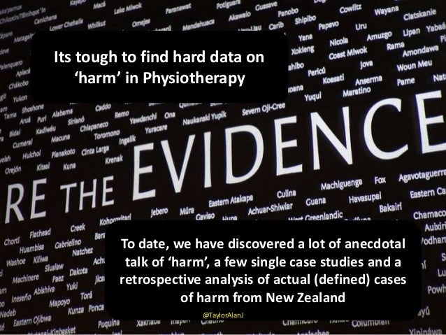 Its tough to find hard data on 'harm' in Physiotherapy To date, we have discovered a lot of anecdotal talk of 'harm', a fe...