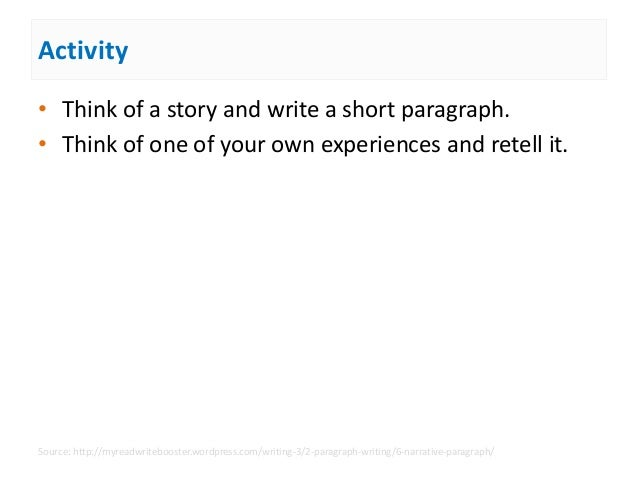 how to start a narrative paragraph