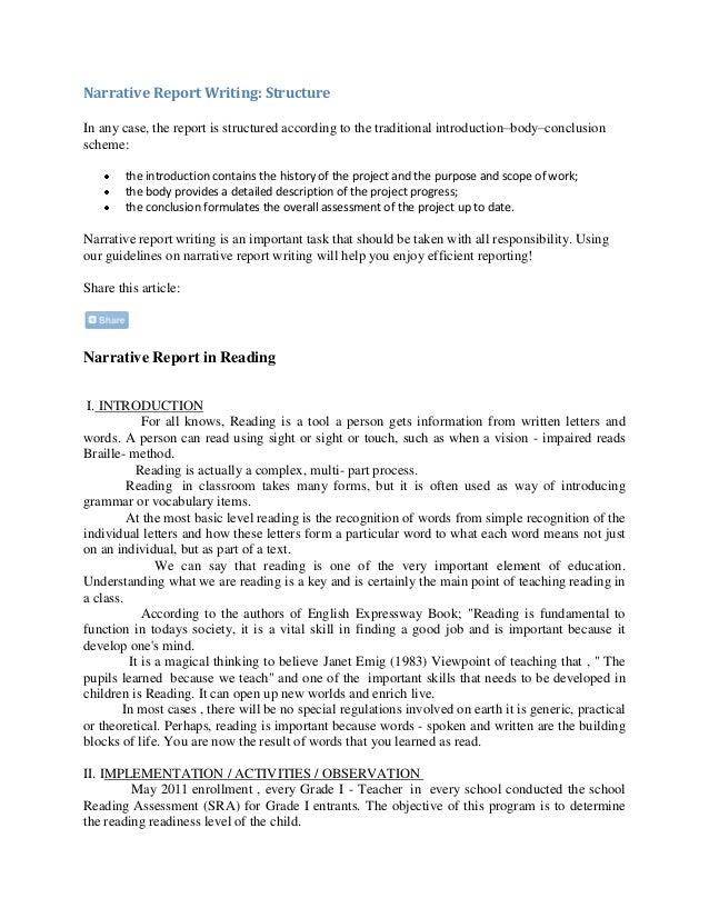 narrative report writing