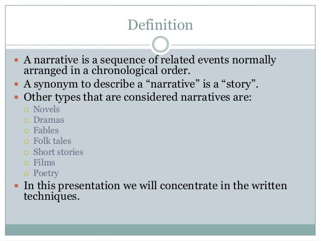 narrative style essay writing Narrative form refers to an expository (descriptive) writing approach that discloses details of an act, event or phenomenon it tells a story meant to lead the reader to an important conclusion or meaningful realization or life lesson.