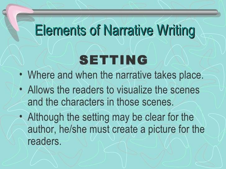 Generate a list of narrative essay components
