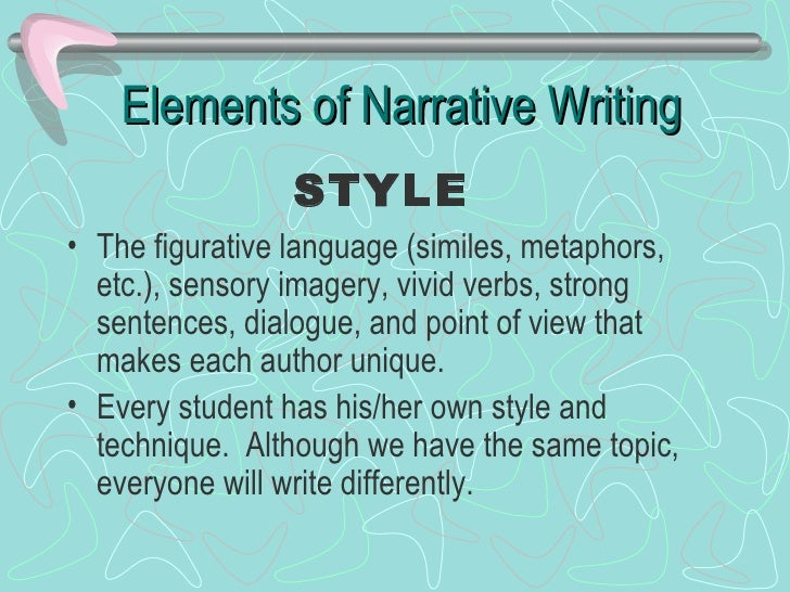 Narrative writing What is style