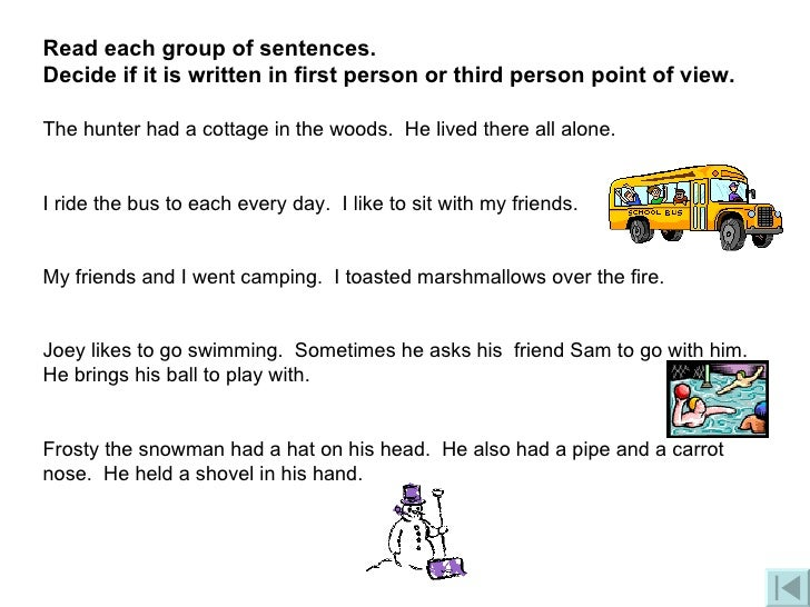 first person point of view sentences