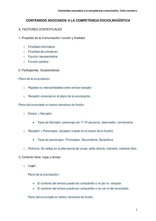 Contenidos asociados a la competencia comunicativa. Texto narrativo.1CONTENIDOS ASOCIADOS A LA COMPETENCIA SOCIOLINGÜÍSTIC...