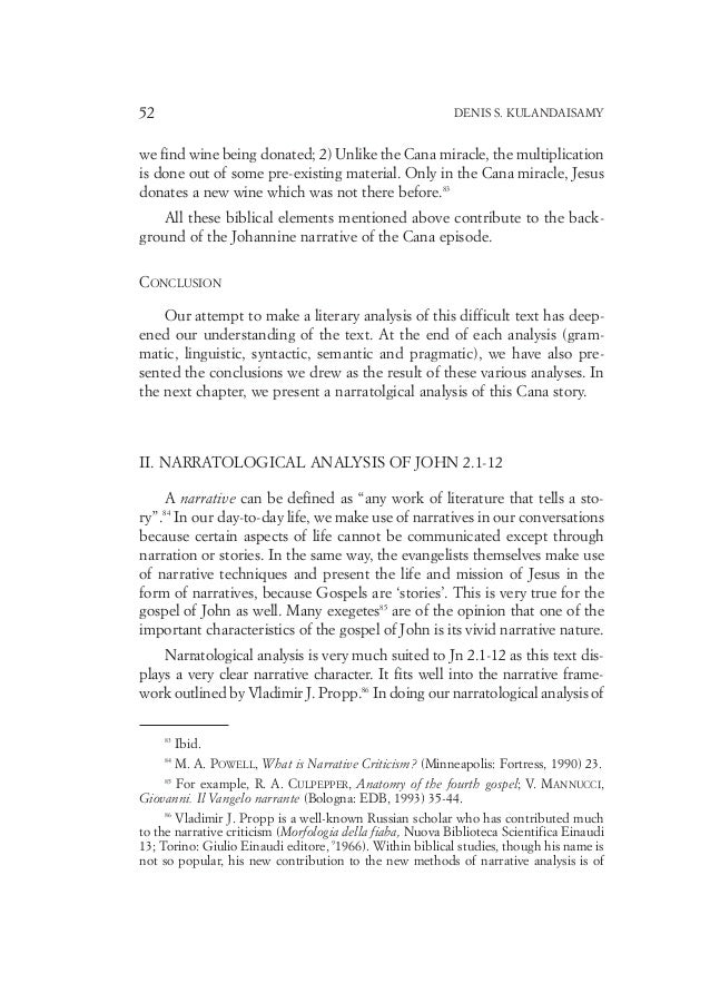 Narratological Analysis of John 2:1-12