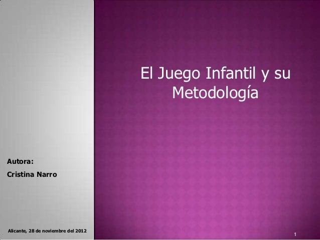 El Juego Infantil y su                                          MetodologíaAutora:Cristina NarroAlicante, 28 de noviembre ...