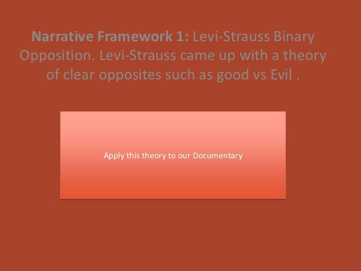 Narrative Framework 1: Levi-Strauss BinaryOpposition. Levi-Strauss came up with a theory   of clear opposites such as good...