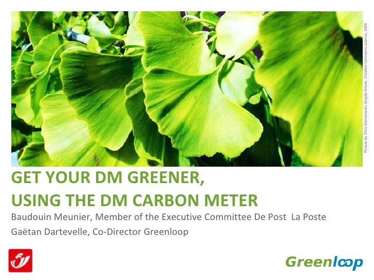 GET YOUR DM GREENER,  USING THE DM CARBON METER <ul><li>Baudouin Meunier, Member of the Executive Committee De Post  La Po...