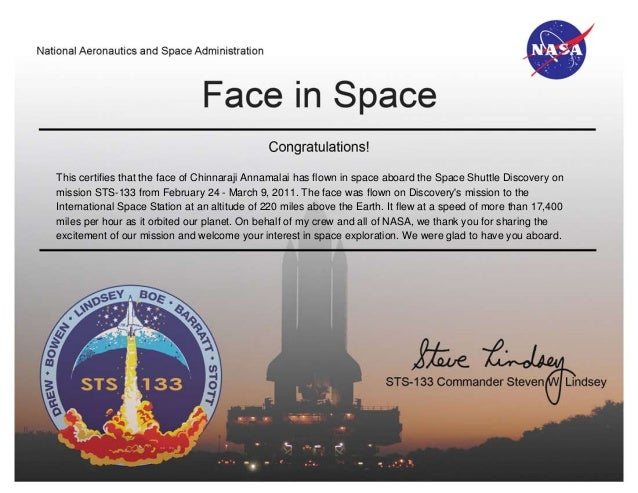 "NASA Certificate for My ""Face in Space"""
