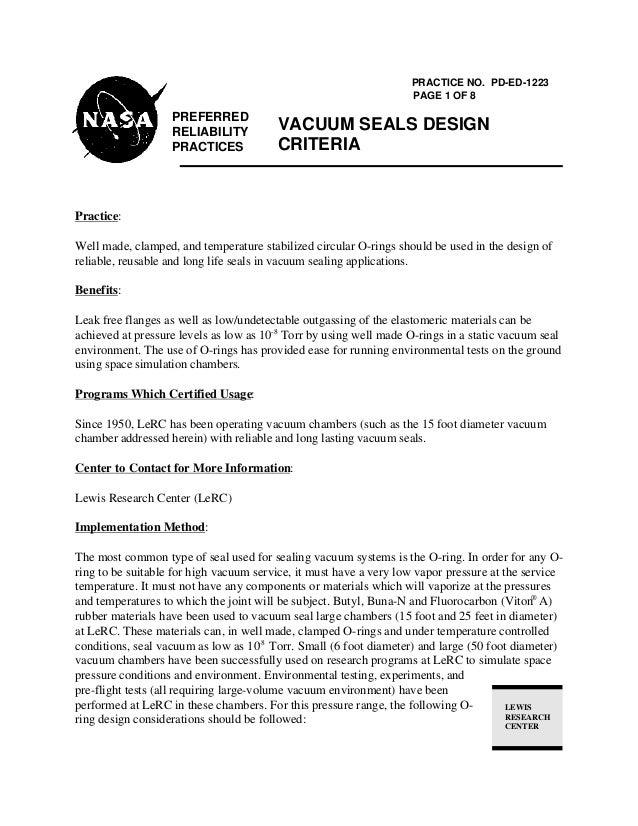 PREFERRED RELIABILITY PRACTICES PRACTICE NO. PD-ED-1223 PAGE 1 OF 8 VACUUM SEALS DESIGN CRITERIA LEWIS RESEARCH CENTER Pra...