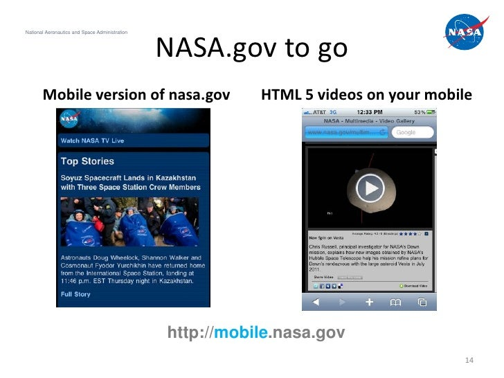 National Aeronautics and Space Administration                                                NASA.gov to go       Mobile v...