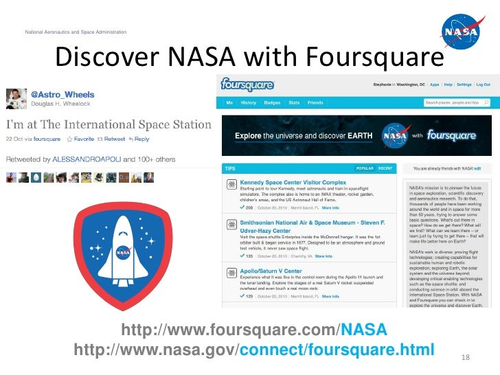 National Aeronautics and Space Administration            Discover NASA with Foursquare                            http://w...