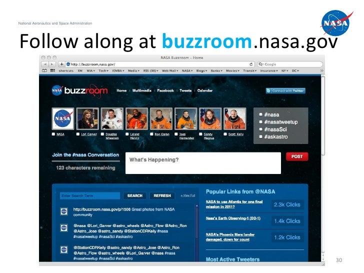 National Aeronautics and Space AdministrationFollow along at buzzroom.nasa.gov                                            ...
