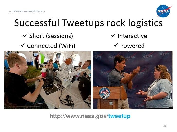 National Aeronautics and Space Administration      Successful Tweetups rock logistics               Short (sessions)     ...