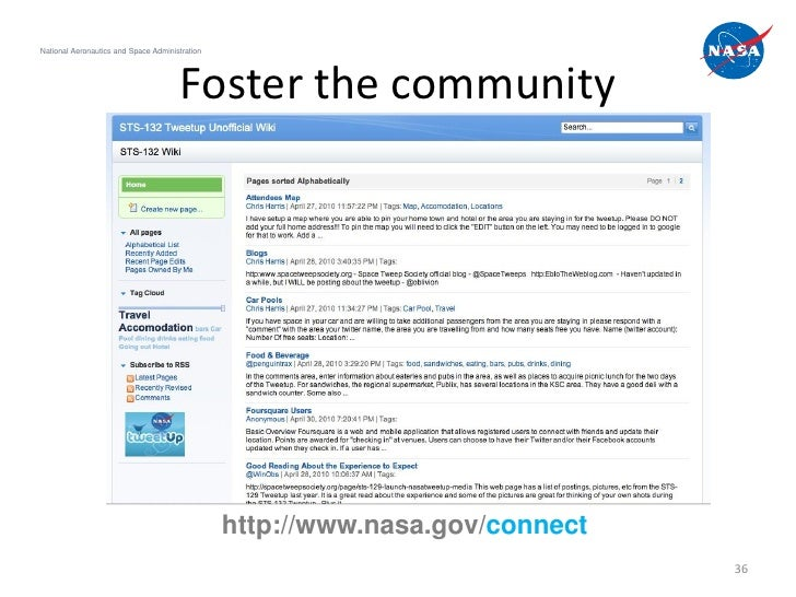 National Aeronautics and Space Administration                                       Foster the community                  ...