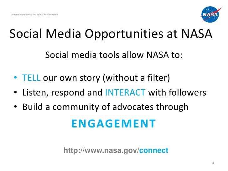 National Aeronautics and Space AdministrationSocial Media Opportunities at NASA                                Social medi...