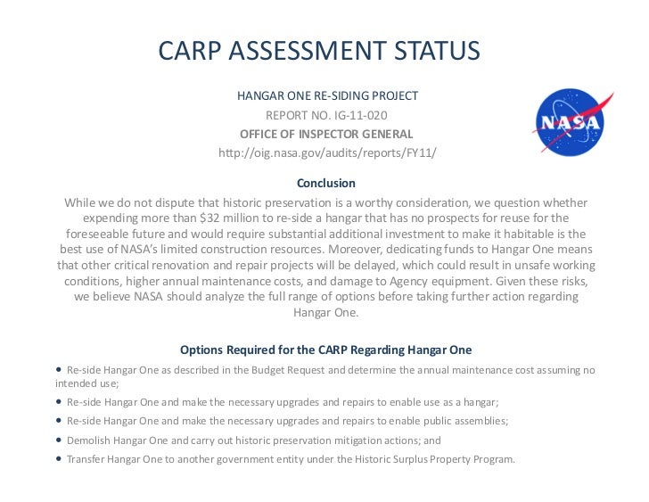 CARP ASSESSMENT STATUS                                      HANGAR ONE RE-SIDING PROJECT                                  ...