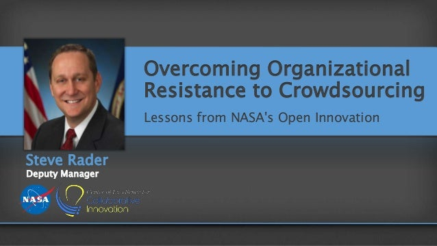 Overcoming Organizational Resistance to Crowdsourcing Lessons from NASA's Open Innovation Steve Rader Deputy Manager